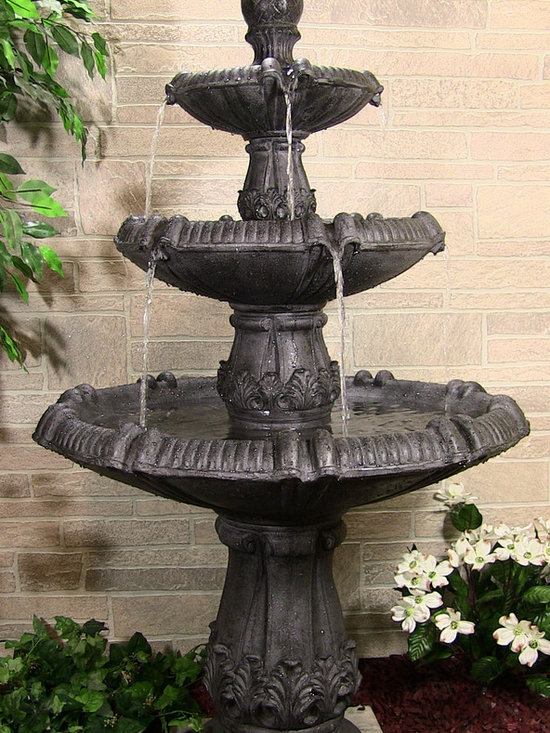 Outdoor Classics - Classic Pineapple 3 Tier Fountain - Customers love this tiered style fountain for a number of reasons. First, it's relatively lightweight so it can be moved without a small army.  Second, it's a large fountain that can be a huge focal point of a front landscape.