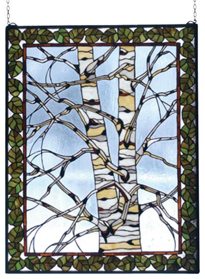 28 Inch W x 36 Inch H Birch Tree in Winter Windows modern-stained-glass-panels