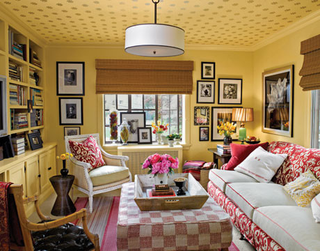Farrow & Ball Wallpapered Ceiling eclectic-living-room