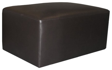 Brevia Leather Ottoman in Black modern ottomans and cubes