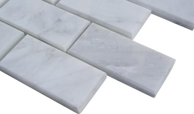 Sample Asian Statuary Beveled 2x4 Marble Tile1/4 Sheet contemporary-tile