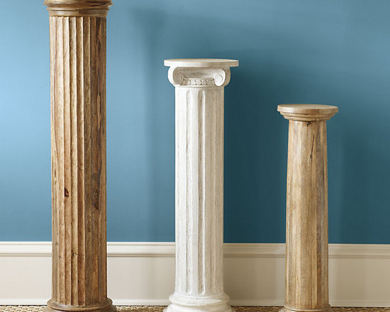 Ballard Designs - Wood Columns - Various sizes and finishes. Also ideal as display or plant stand. These classically inspired Wood Columns are an easy way to add architectural interest and height to any space. Mix and match styles, finishes and sizes for high impact or use them in pairs to create symmetry beside an entry or fireplace. Each is hand carved from solid mango wood. Wood Columns features: . .