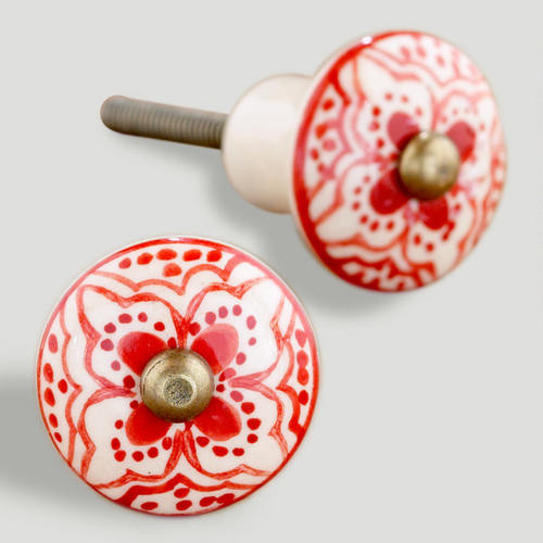 Red Basic Ceramic Floral Knobs - Mediterranean - Cabinet And Drawer Knobs - by Cost Plus World ...
