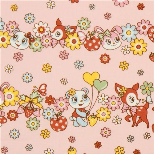 Kawaii Deer And Bunny Animal Fabric By Kokka From Japan