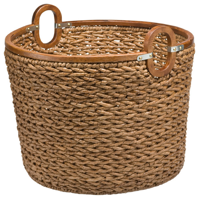 Round Storage Basket in Seagrass and Wood contemporary-baskets