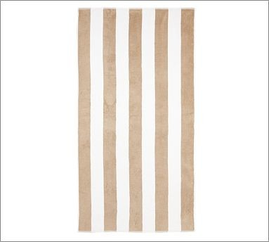 PB Classic Stripe 650-Gram Weight Jacquard Bath Towel, Sandalwood traditional-bath-towels