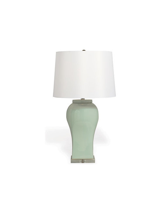 Boulevard Celadon Lamp - The modern organic shape and pastel celadon shade makes this neutral lamp a standout for its style. Off white, Hardback shade with nickel spider.