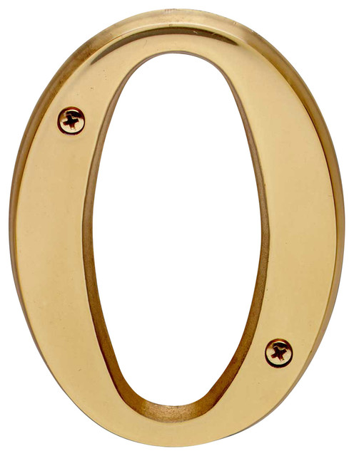 House Numbers Bright Solid Brass 4 House Letter O