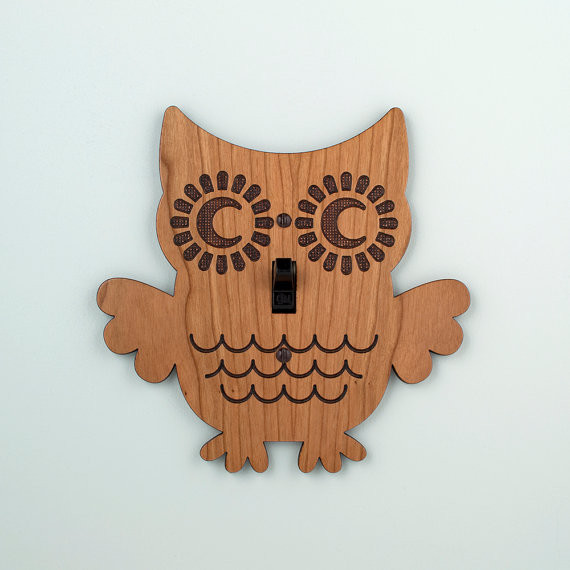 Wood Owl Switchplate by Graphic Spaces eclectic-switchplates