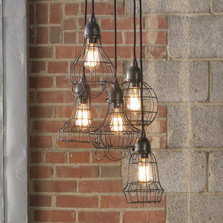 Industrial Cage Work Light Chandelier eclectic chandeliers