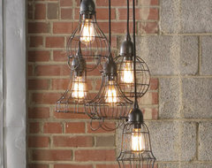 Industrial Cage Work Light Chandelier industrial-chandeliers