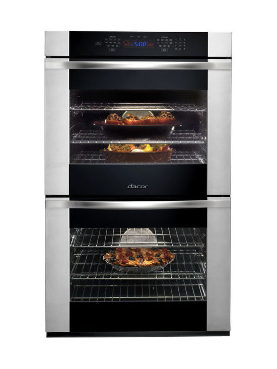 """Dacor 30"""" Double Electric Wall Oven, Black Glass W/ Stainless Trim 
