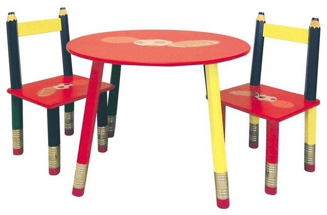 3 Pc Kids Colored Pencil Table Amp Chairs Set Contemporary