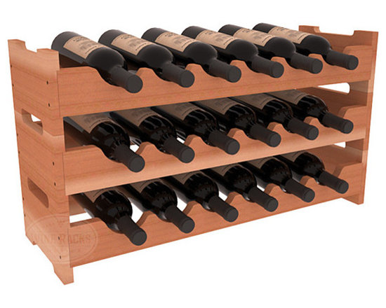 18 Bottle Mini Scalloped Wine Rack in Redwood -