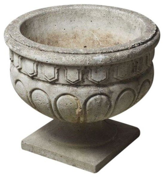 Vintage Concrete Planter Traditional Indoor Pots And