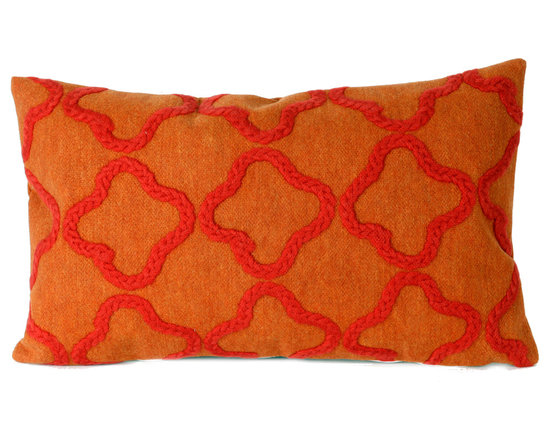 """Trans-Ocean Outdoor Pillows - Trans-Ocean Liora Manne Crochet Tile Orange - 12"""" x 20"""" - Designer Liora Manne's newest line of toss pillows are made using a unique, patented Lamontage process combining handmade artistry with high tech processing. The 100% polyester microfibers are intricately structured by hand and then mechanically interlocked by needle-punching to create non-woven textiles that resemble felt. The 100% polyester microfiber results in an extra-soft hand with unsurpassed durability."""