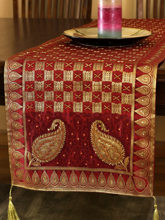 """Elegant Table Runners - Eye Catching table runner """"Golden Scarlet"""". Very unique hand embroidered pattern with beautiful hand crafted design. Red Orange"""