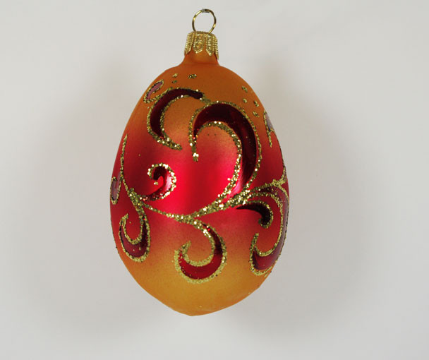 Hand Blown Glass Christmas Tree Ornaments : Egg quot sunrise hand blown glass christmas tree ornament