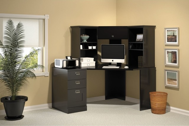 Bush Stockport Black Corner Desk Set - Contemporary ...