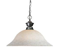 One Light Gun Metal White Mottle Glass Down Pendant contemporary-pendant-lighting