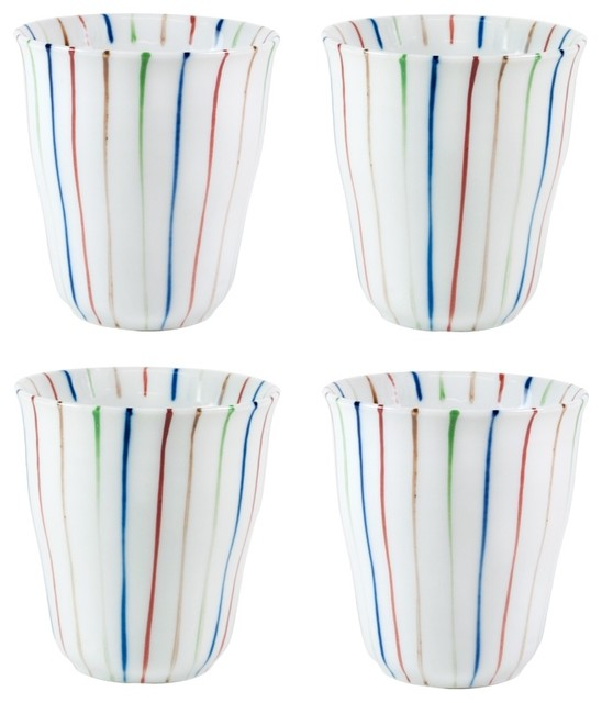 Set of Four Multicolored Striped Porcelain Cups contemporary-everyday-glasses