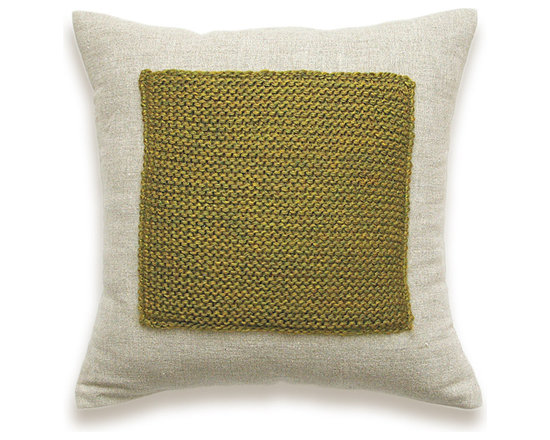 Color Block Linen Knit Pillow Cover In Olive Green Flax Beige 16 inch -