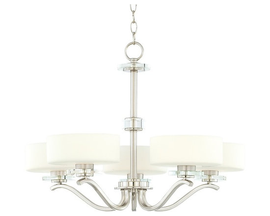 "Possini Euro Design - Possini Brushed Steel and Opal Glass 27"" Wide Chandelier - This chandelier offers an ultra-clean ultra-elegant look for dining rooms seating areas and more. The graceful frame comes in a brushed steel finish. Halogen lights glow within diffusers of opal glass. The finishing touches are clear glass disk accents throughout the piece. A stunning transitional design. Brushed steel finish. Opal glass. Clear glass accents. Includes five 40 watt G9 halogen bulbs. 27"" wide. 20"" high. Comes with 6 feet chain and 12 feet wire. Canopy is 5"" wide. Hang weight is 16 pounds.  Brushed steel finish.   Opal glass.   Clear glass accents.   Includes five 40 watt G9 halogen bulbs.   27"" wide.   20"" high.   Comes with 6 feet chain and 12 feet wire.   Canopy is 5"" wide.   Hang weight is 16 pounds."