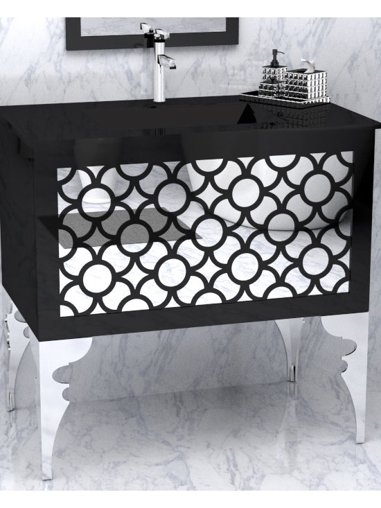 """Phantom by The Furniture Guild - Phantom vanity by The Furniture Guild. Shown in polyester finish with mirror panel. Shown at 36"""". Available in standard sizes from 20""""-72"""" Custom sizing is available. Can be Wall Hung or Freestanding. 12 different leg designs available."""