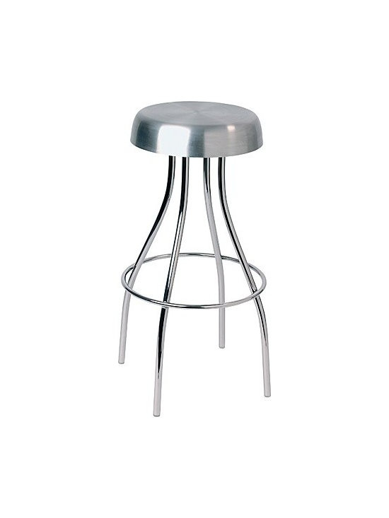 "Offi - Offi | JIM Barstool - This sleek barstool adds an industrial touch to any modern setting. Featuring curvy chrome legs and a brushed stainless steel press-molded seat, the JIM stool is 30"" in height."