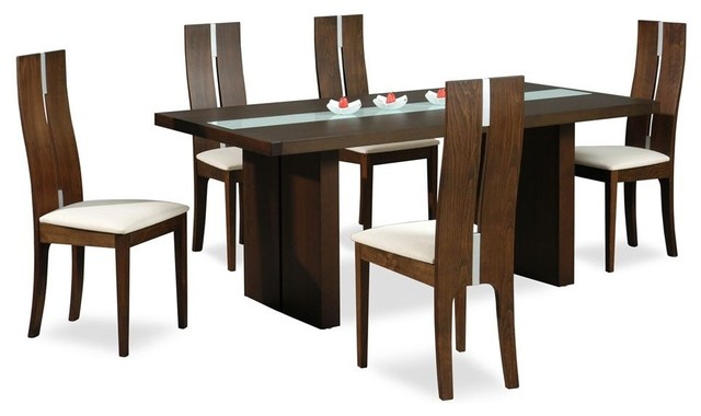 High Class Glass Top 5 Piece Dining Set With Chairs Modern Dining