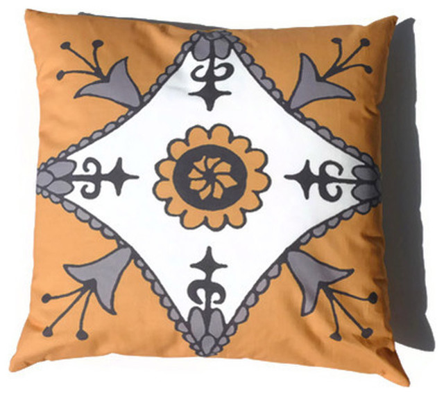 Moroccan Pillow Suzani Yellow Gray African 20 x 20 eclectic-pillows