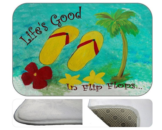 """USA - Flip Flops Life's Good, 20"""" X 15"""" - Bath mats from my original art and designs. Super soft plush fabric with a non skid backing. Eco friendly water base dyes that will not fade or alter the texture of the fabric. Washable 100 % polyester and mold resistant. Great for the bath room or anywhere in the home. At 1/2 inch thick our mats are softer and more plush than the typical comfort mats. Your toes will love you."""