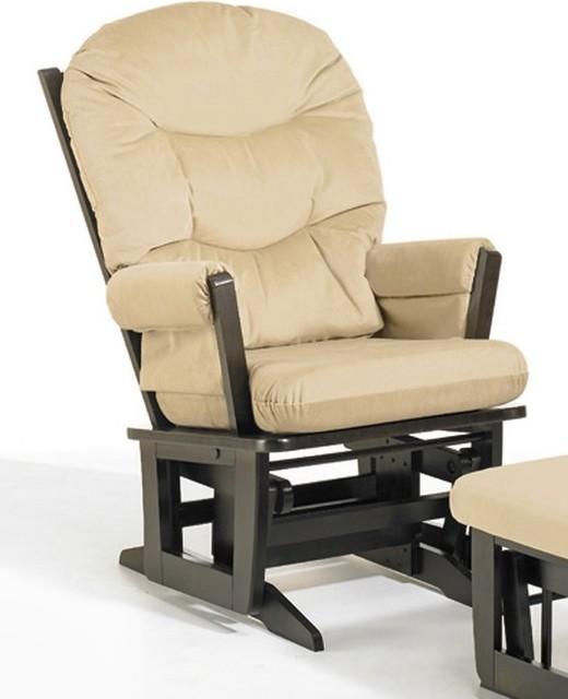 26 in modern glider chair in espresso finish beige contemporary
