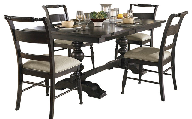 Liberty furniture whitney 5 piece 94x42 dining room set in for Traditional black dining room sets