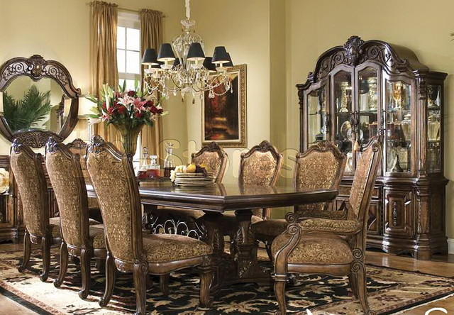 michael amini vintage fruitwood dining room set windsor court