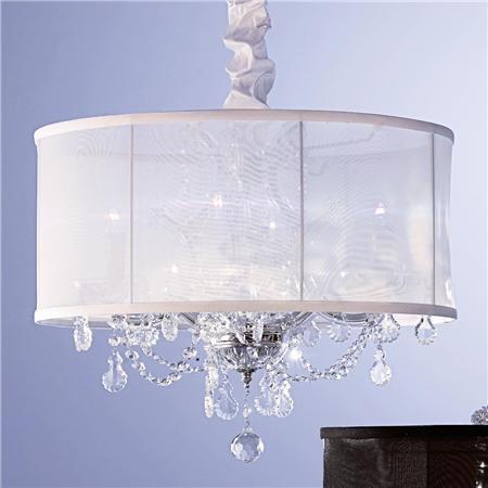 Organza Shade & Crystal Chandelier - Round modern-chandeliers