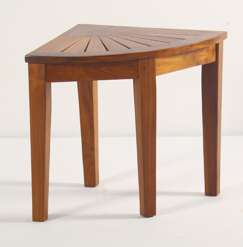 Spa Teak Corner Shower Stool modern-shower-benches-and-seats