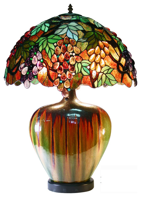 Tiffany Style Grape Lamp With Ceramic Base traditional-table-lamps