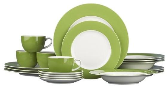 Hamptons Green 20-Piece Dinnerware Set traditional-dinnerware