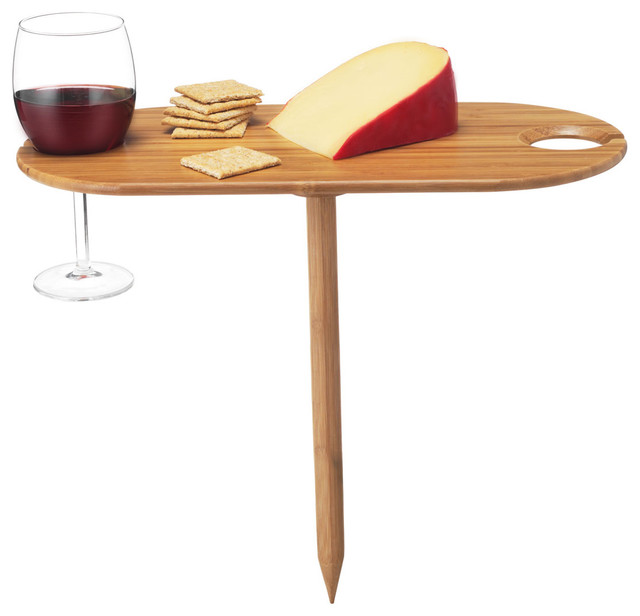 Bamboo Wine Glass Holder & Outdoor Tray serving-dishes-and-platters