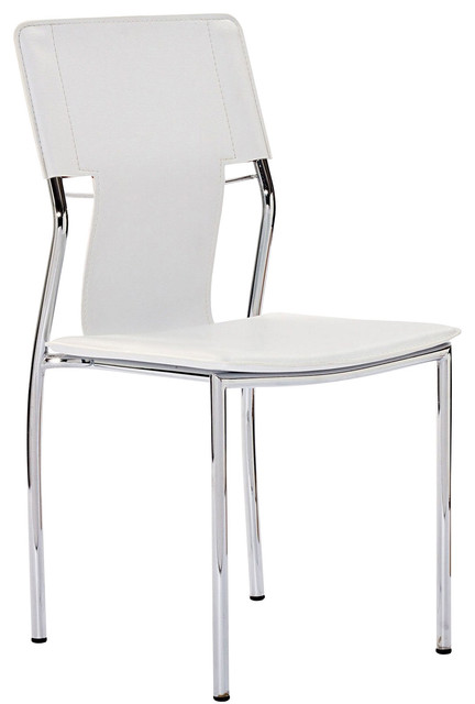 Studio dining chair in white vinyl modern dining for White plastic dining chair