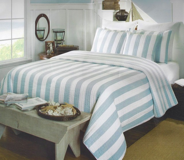 Aqua Cabana Stripe Quilt Set ~ Coastal Bedding - tropical - quilts -
