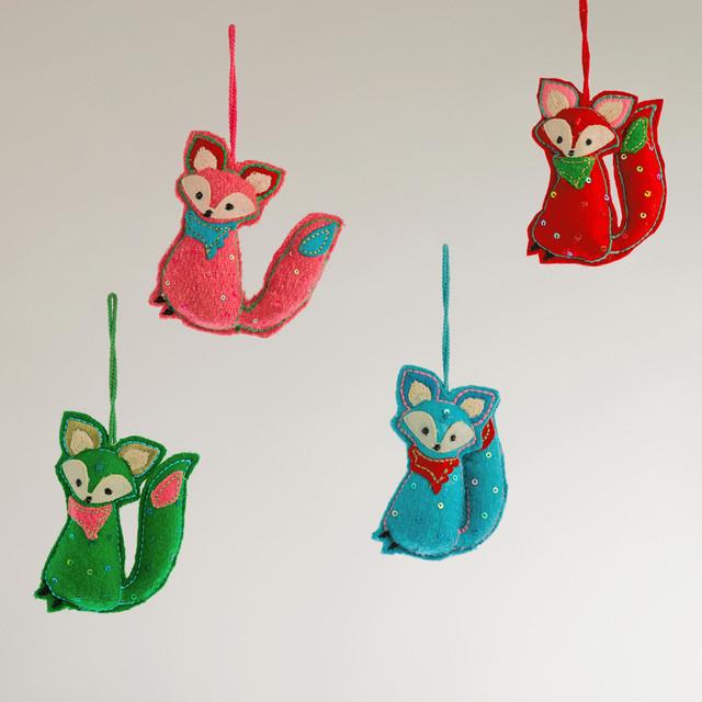 Felt Fox Ornaments Contemporary Christmas Ornaments
