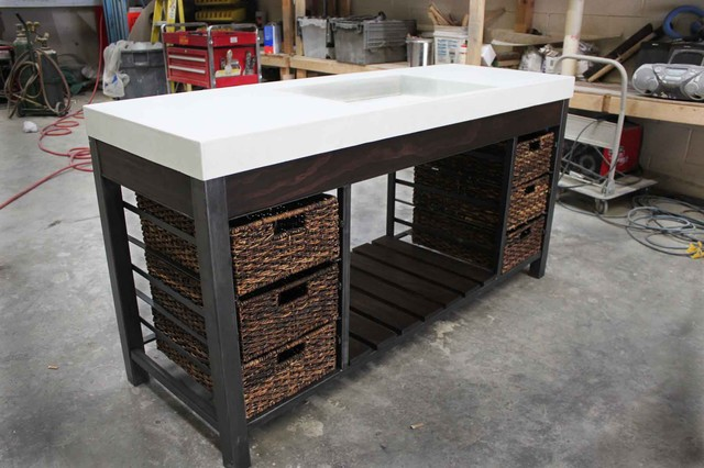 Traditional vanity with baskets modern bathroom
