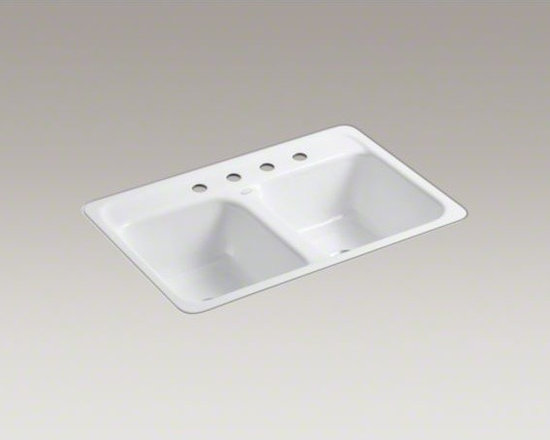 """KOHLER - KOHLER Delafield(R) 32"""" x 21"""" x 8-1/2"""" tile-in/metal frame double-equal kitchen - An elegantly rounded rim gives this Delafield sink its classic, sophisticated look. Two equal compartments provide convenient separation for multitasking. Crafted from enameled cast iron, this sink resists chipping, cracking, or burning for years of beaut"""
