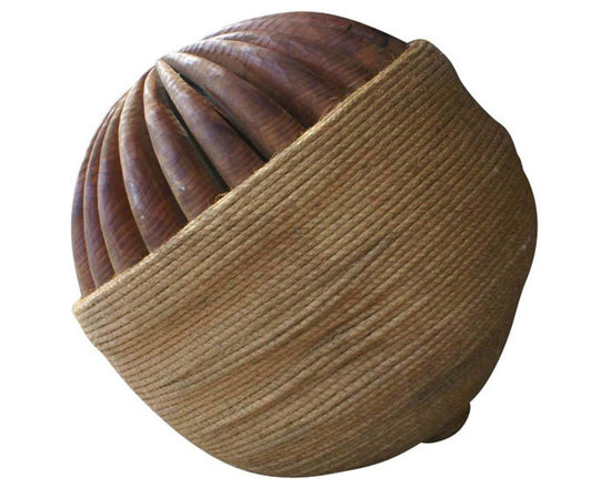 Andrew Gellatly Wood Sculpted Acorn - Acorn Composition.  Hand crafted wood structure rope cover. Use as a beautiful floor sculpture