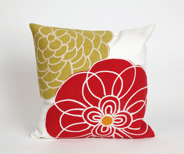 Modern Floral Pillows : Modern Flower Indoor/Outdoor 20 inch Throw Pillow - Contemporary - Outdoor Pillows - by ...