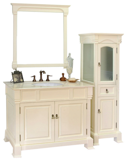 42 in Single sink vanity-wood-cream white - modern - bathroom ...