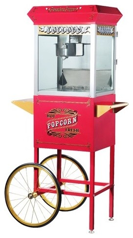 Pasedena 8 Ounce Antique Popcorn Machine with Cart modern-kitchen-islands-and-kitchen-carts