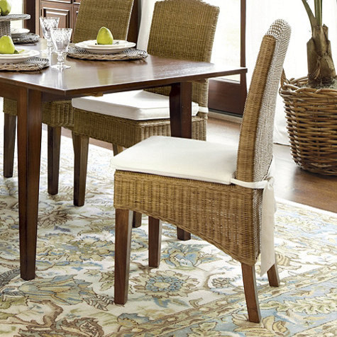 Simone wicker chairs set of 2 traditional dining for Ballard designs dining room